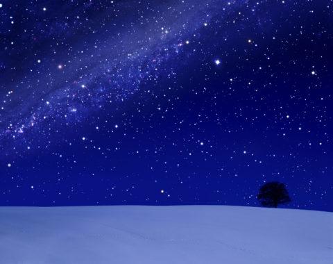 星空 星雲 冬 雪 丘 合成