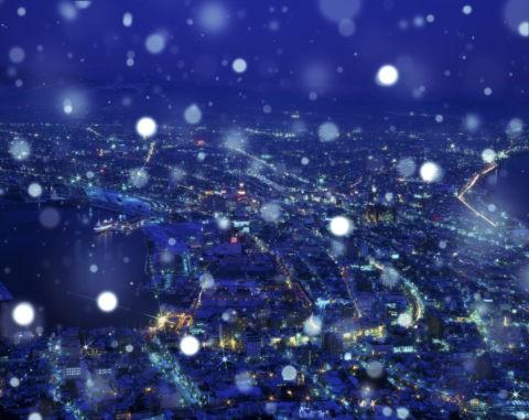 街並み 夜景 冬 雪 合成
