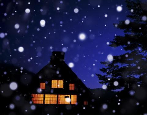 白川郷 世界遺産 家 夜景 冬 雪 合成
