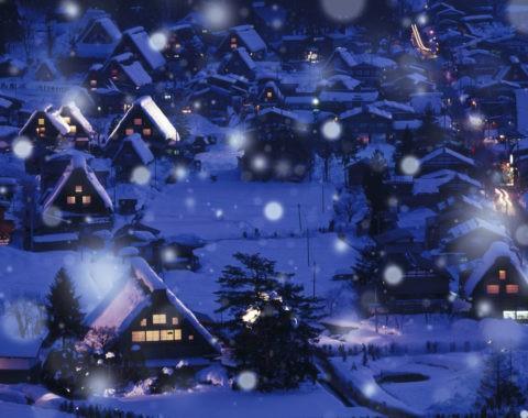 白川郷 世界遺産 家並み 夜景 冬 雪 合成
