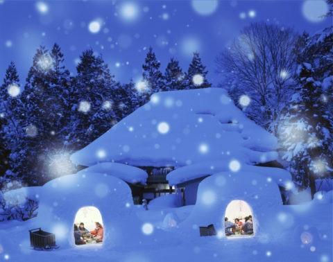 かまくら 家 夜景 子供 雪 冬 合成