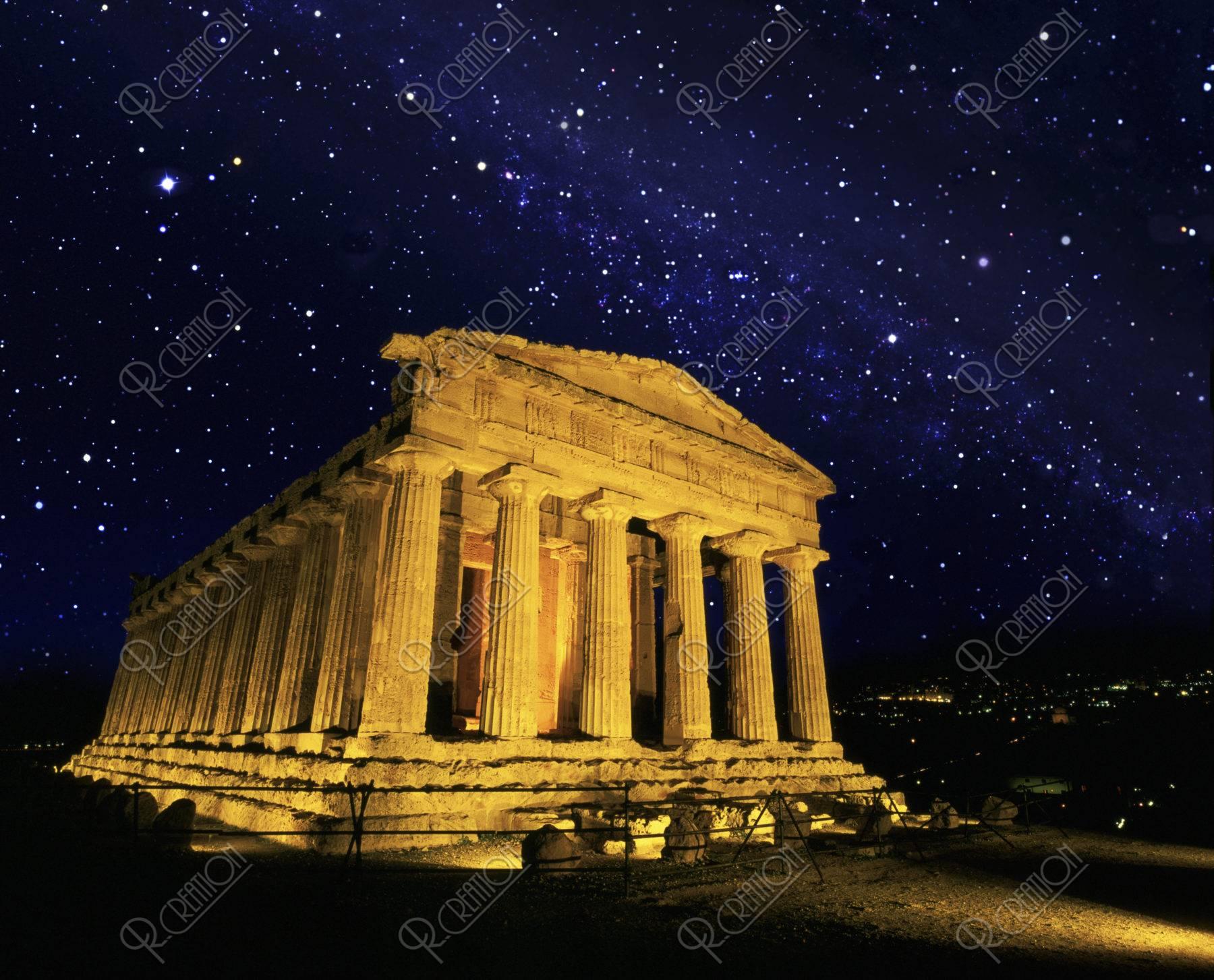 コンコルディア神殿 世界遺産 夜景 星空 合成