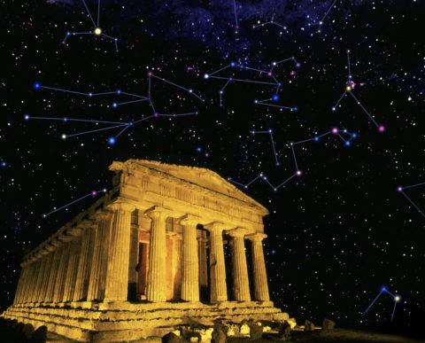 コンコルディア神殿 世界遺産 夜景 星空 星座 合成