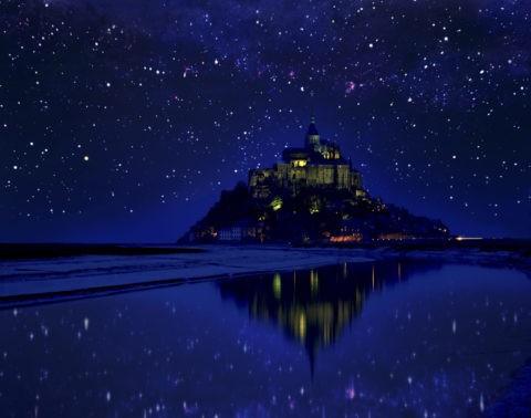 モンサンミシェル 世界遺産 夜景 星空 合成
