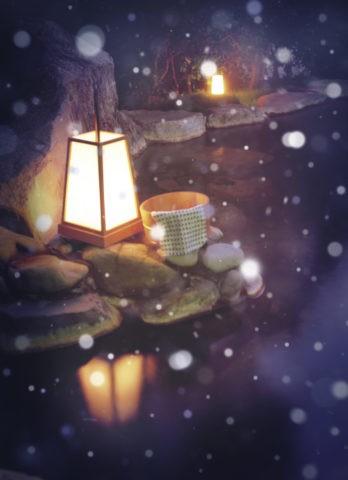 露天風呂 温泉 湯煙 桶 行燈 雪 冬 合成