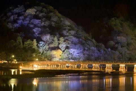 嵐山 渡月橋 霞 花灯路 夜景 ライトアップ