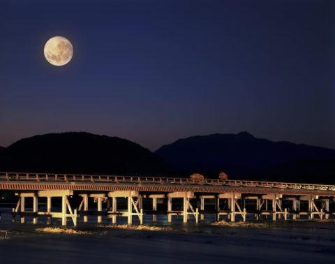 渡月橋 小倉山 ライトアップ 夜景 月 合成