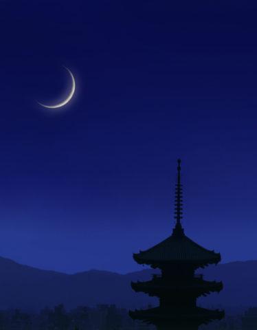 八坂の塔 五重塔 夜景 月 合成 和風
