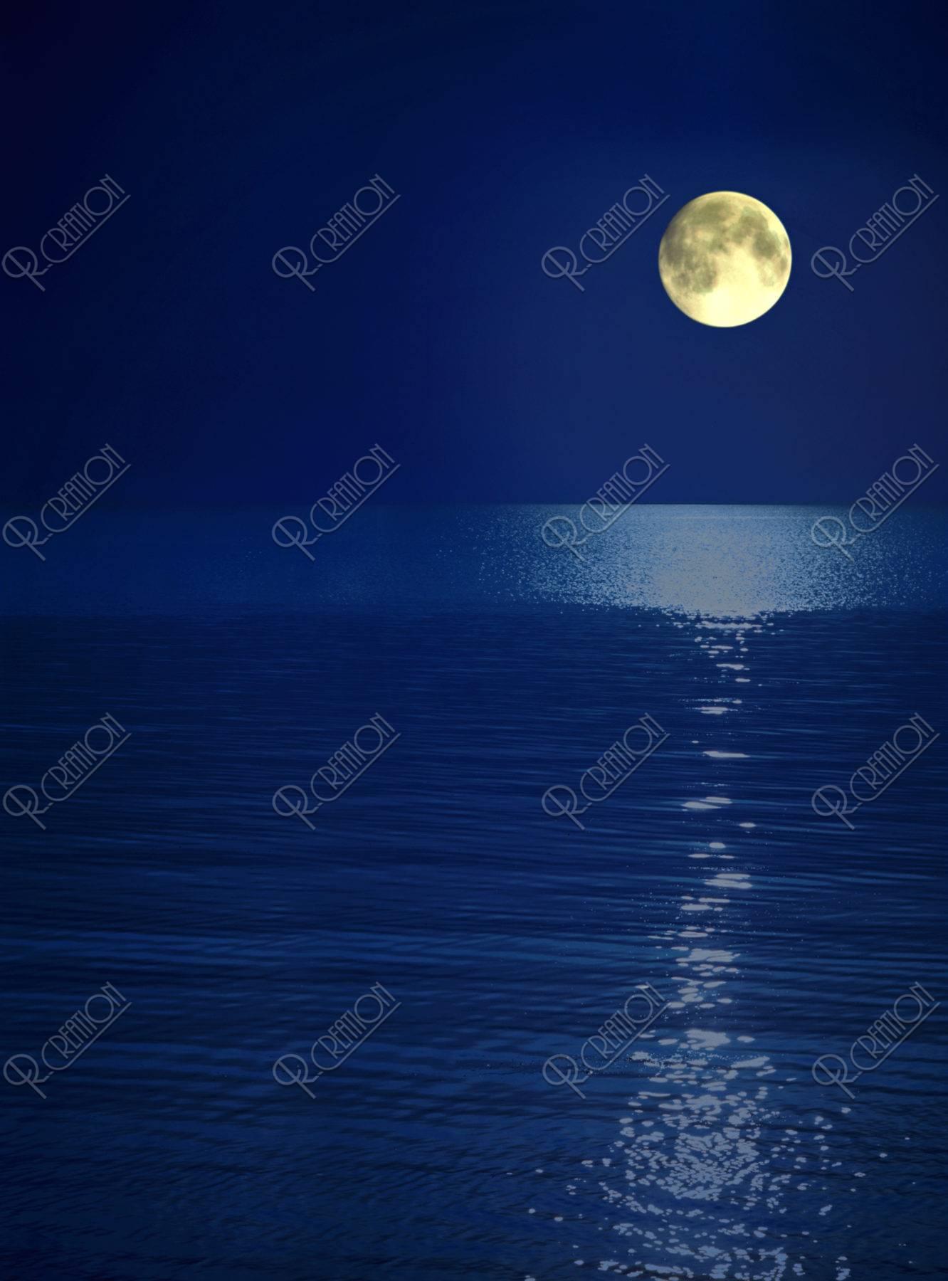 月夜 水平線 青色 合成