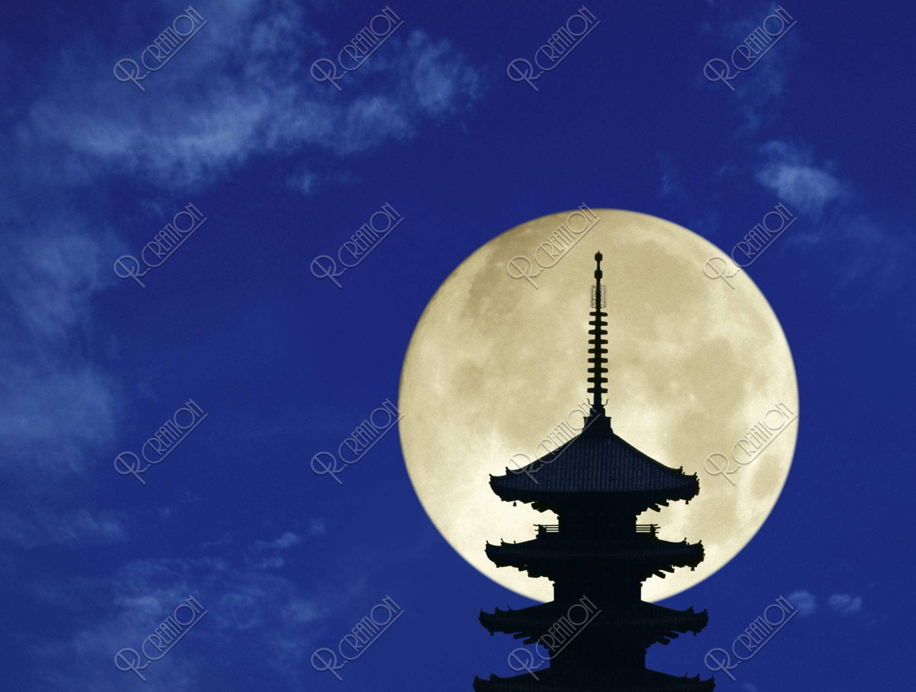 満月 八坂の塔 CG