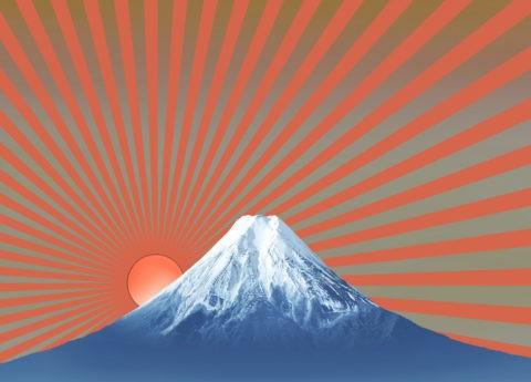 富士山 日の出 CG