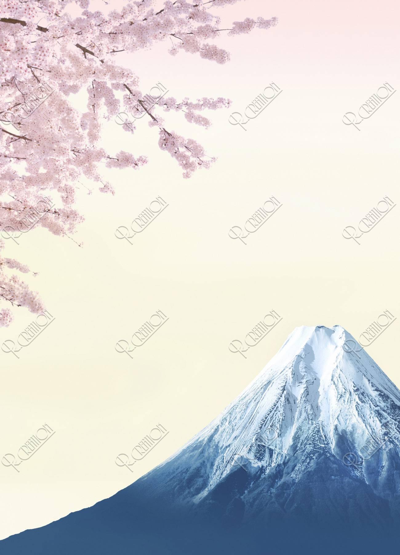 富士山 桜 春 CG