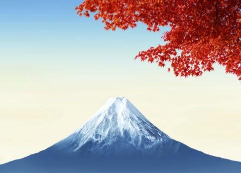 紅葉 秋 富士山 CG