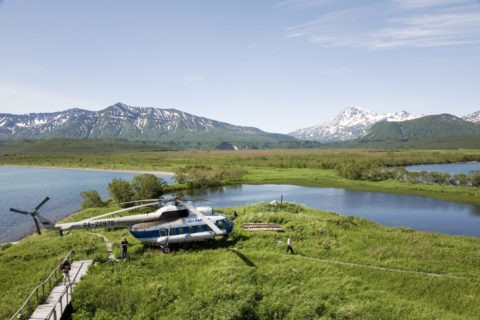 クリル湖のヘリポート
