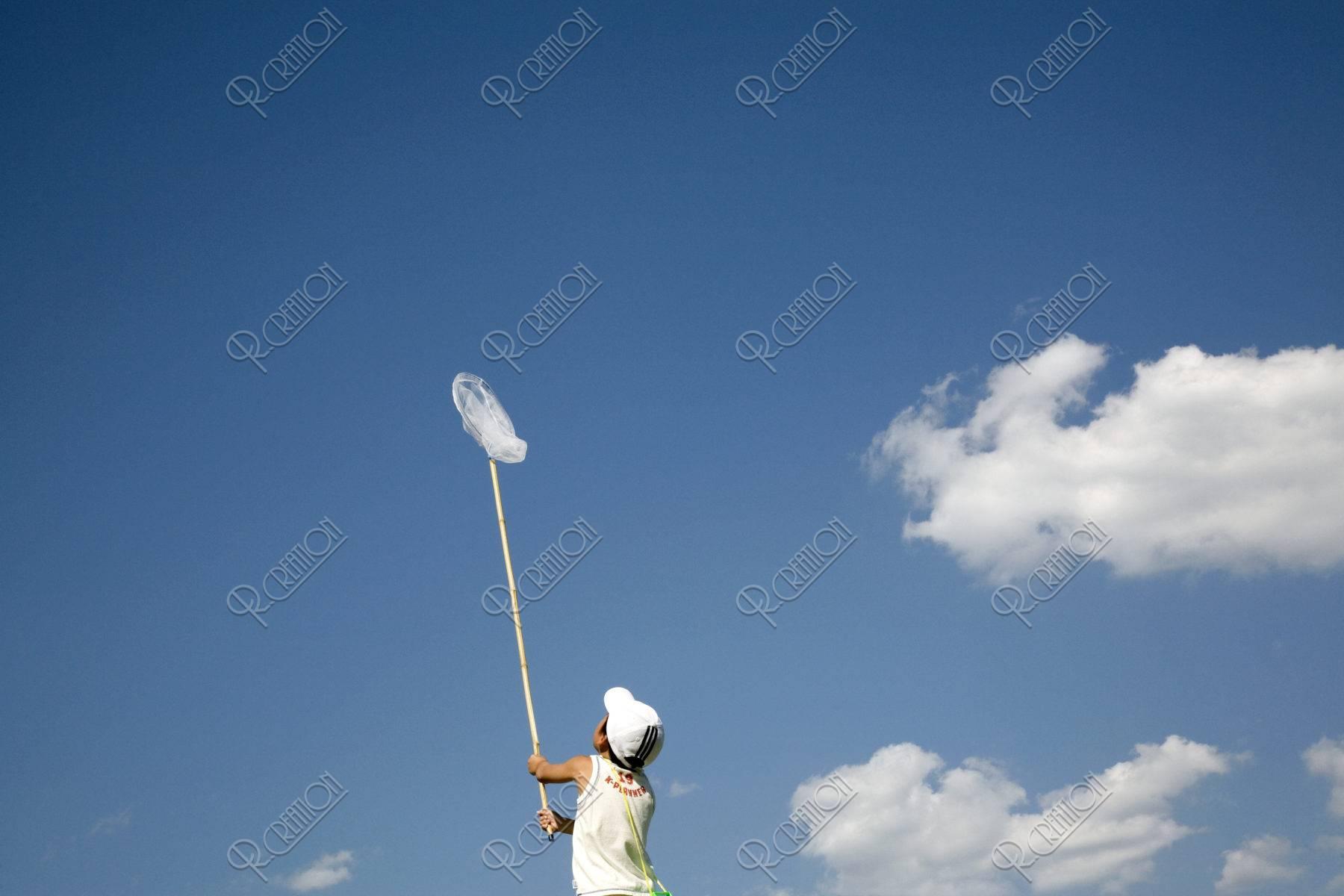 青空と虫取り網を持つ後ろ姿の男の子