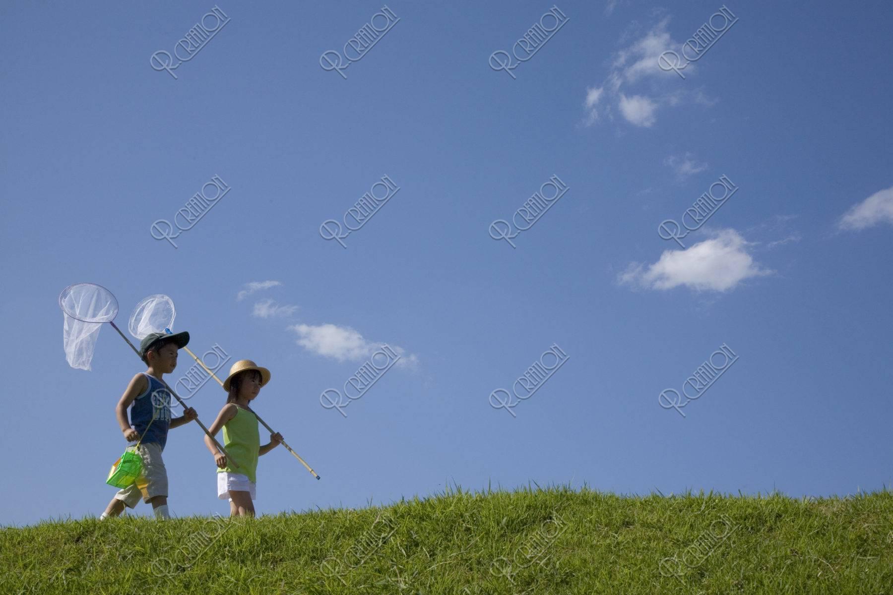 青空と虫取り網を持つ姉弟