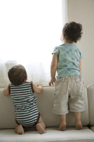窓の外を見る姉弟