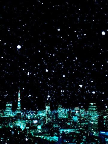 雪降る東京ビル群 CG