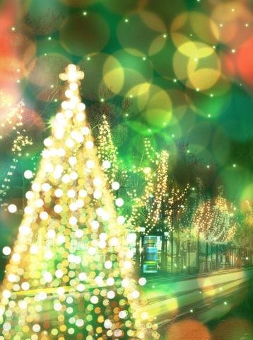 クリスマスツリーとイルミネーション CG