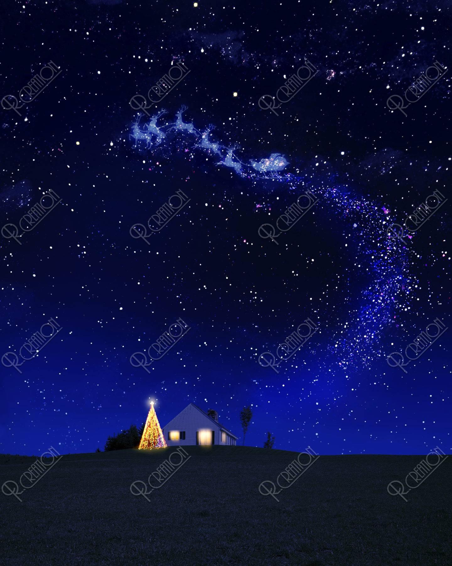 星空のクリスマスツリーと家とトナカイ CG