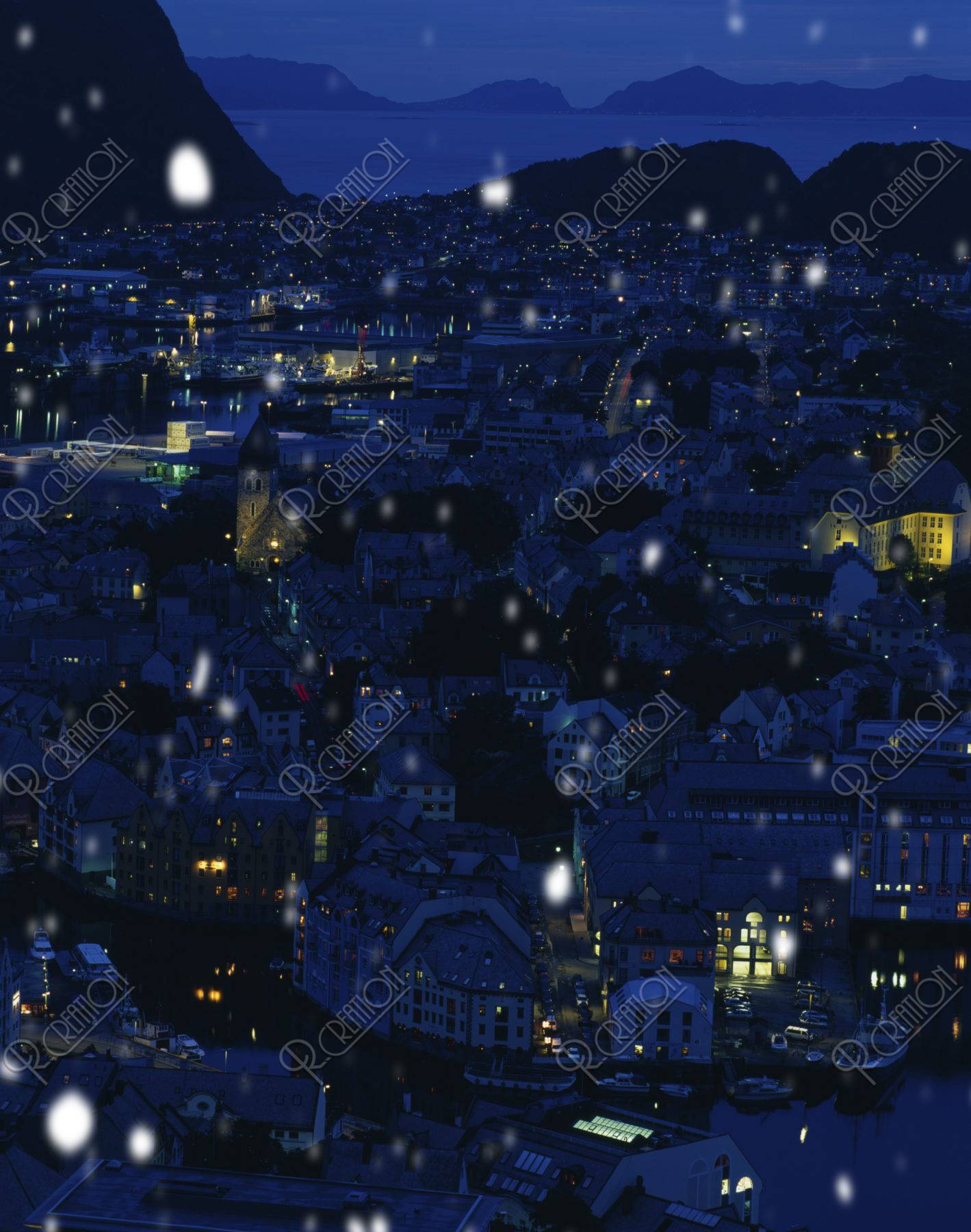 雪降る町並み CG