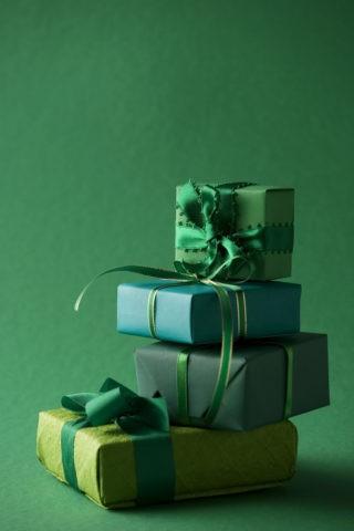 プレゼントラッピング 緑
