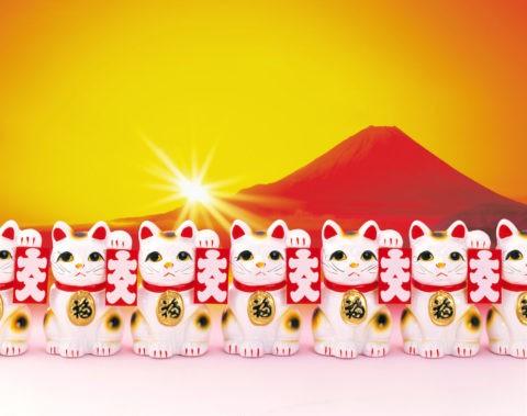 招き猫と富士山の初日の出 CG