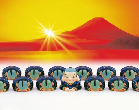 福助と富士山の初日の出 CG