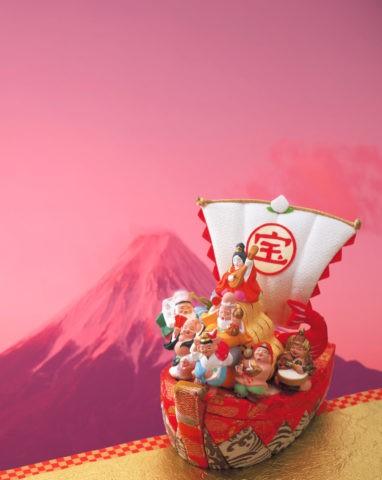 宝船の七福神と富士山 CG