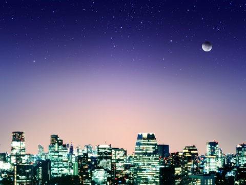 都心夜景と星空 CG