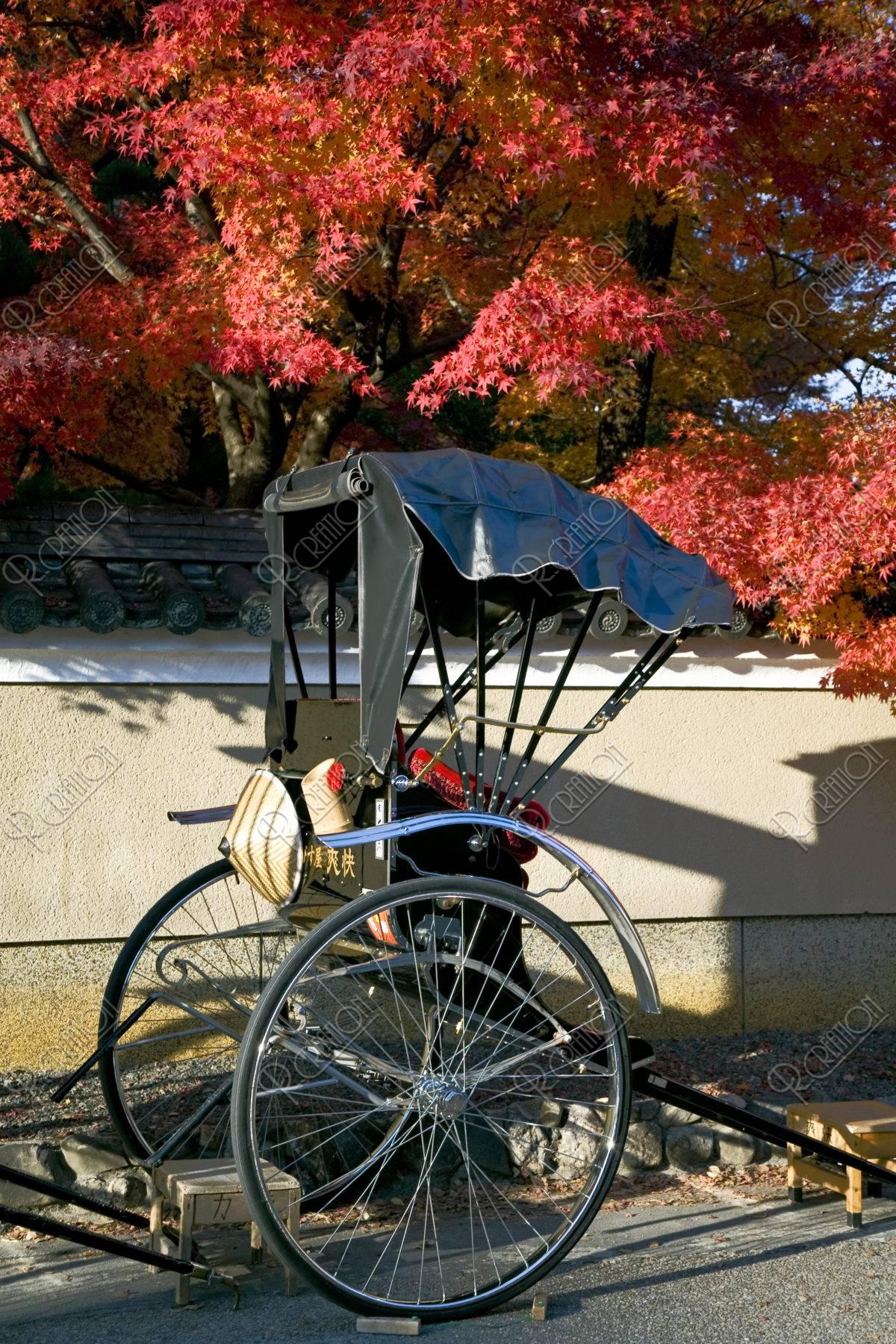 嵯峨野の人力車と紅葉