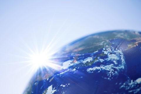 地球儀と光 CG