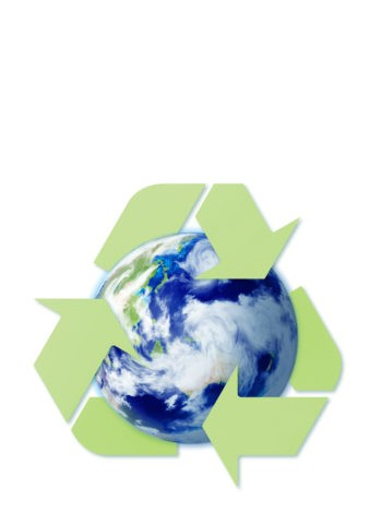 地球とリサイクルのイメージ CG