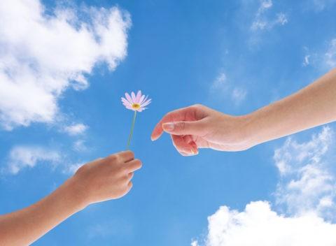 空と花を持つ手 CG