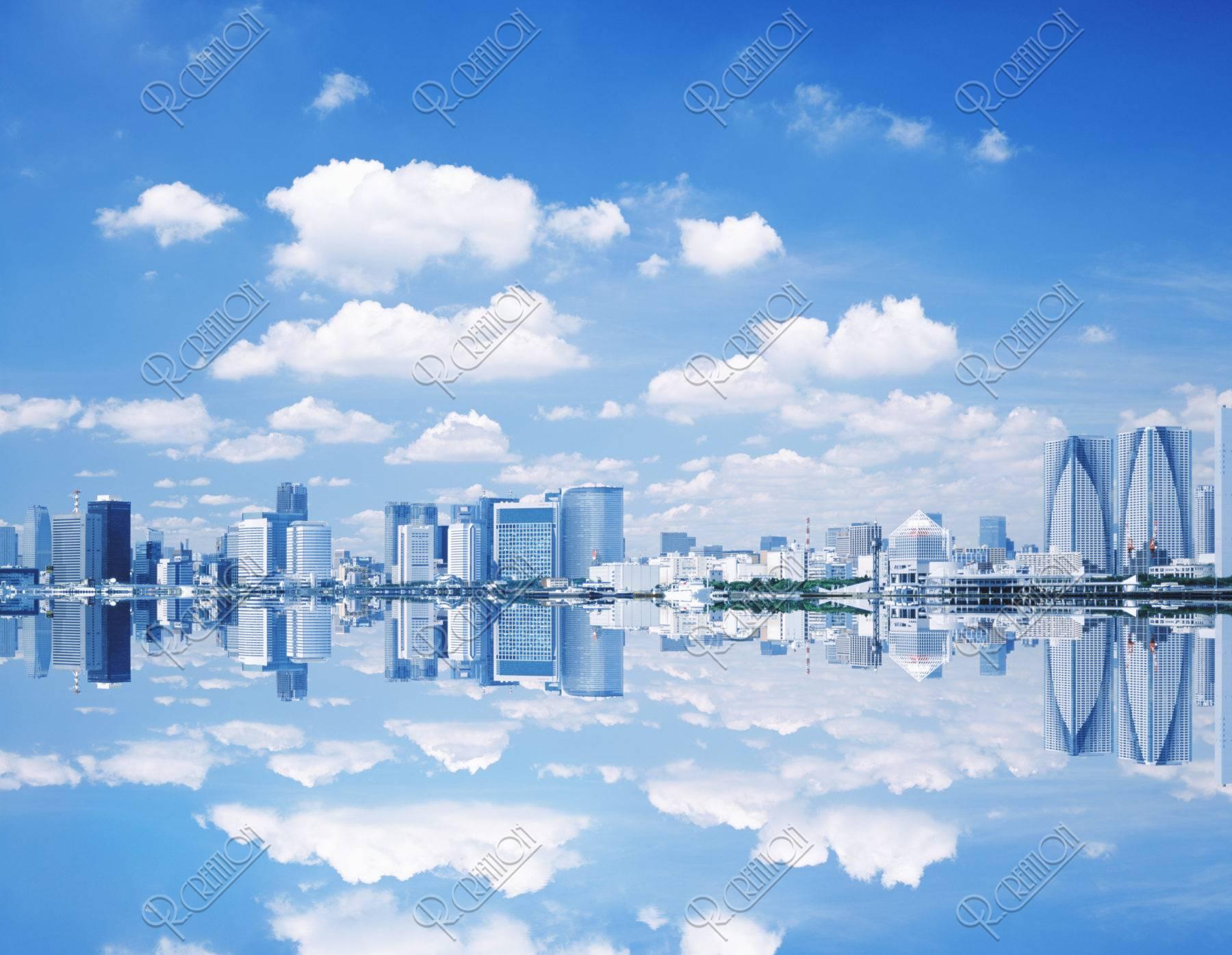 水面に反射する町並み CG