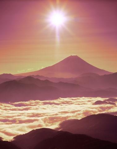 櫛形山林道からの朝日と富士山