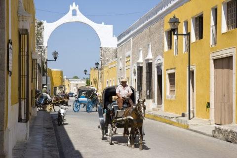 黄色い家並みと馬車 イサマル