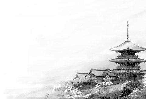 清水寺 モノクロイメージ CG