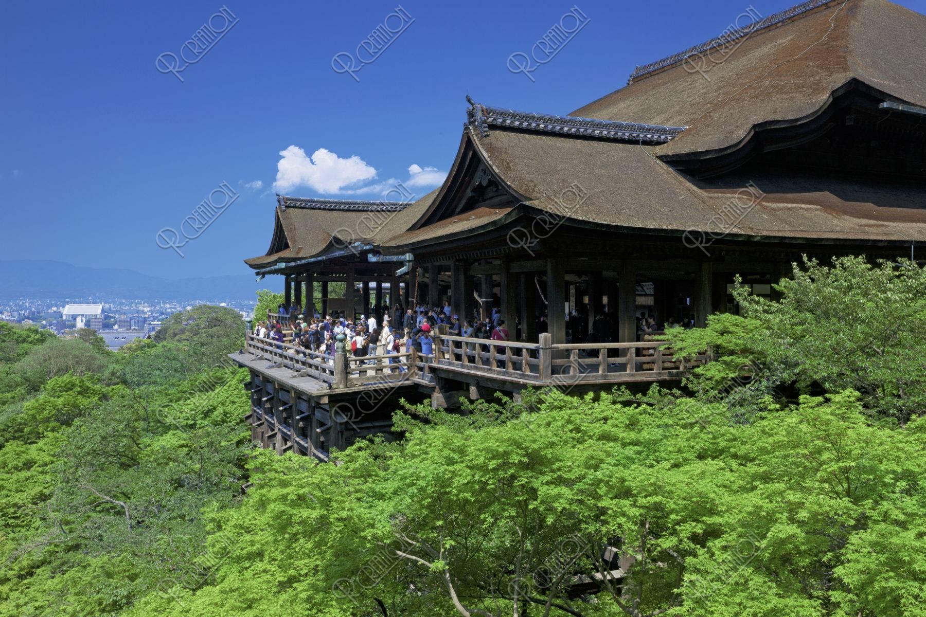 新緑の清水寺本堂と舞台 世界遺産