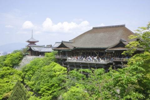 新緑の清水寺本堂と三重塔 世界遺産
