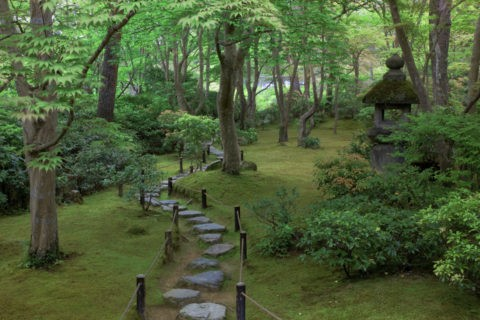 新緑の大河内山荘庭園