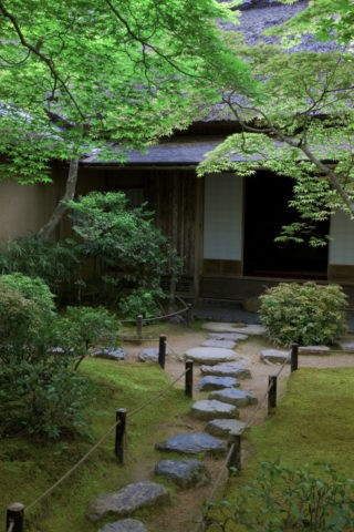新緑の大河内山荘茶室