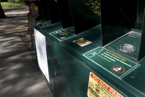 日本語表示のゴミ選別収集 ヨセミテ国立公園