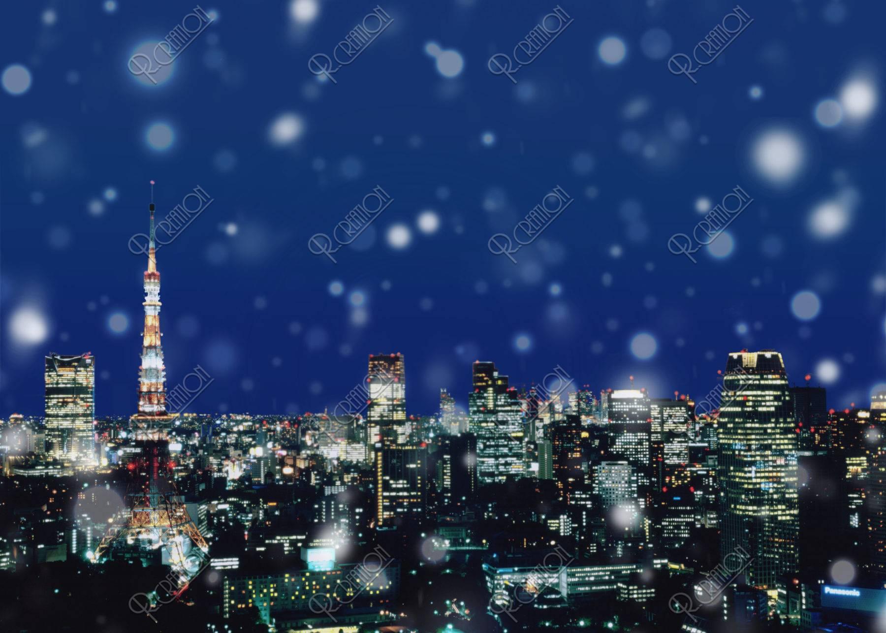 雪の東京タワー夜景