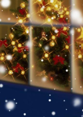 クリスマスの窓辺と雪