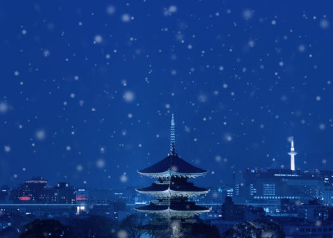 雪の五重塔 夜景