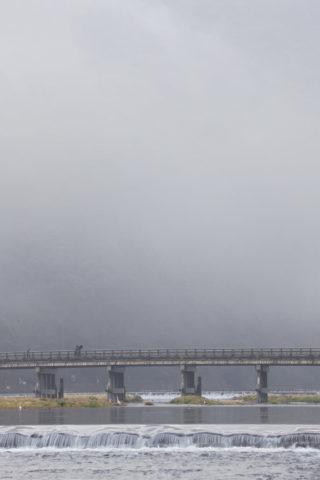 嵐山渡月橋と朝霧