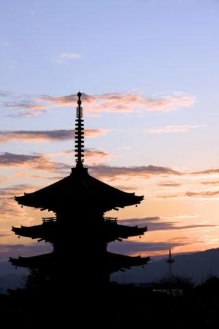 八坂の塔と夕照