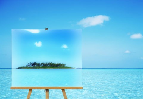 水平線と島の絵