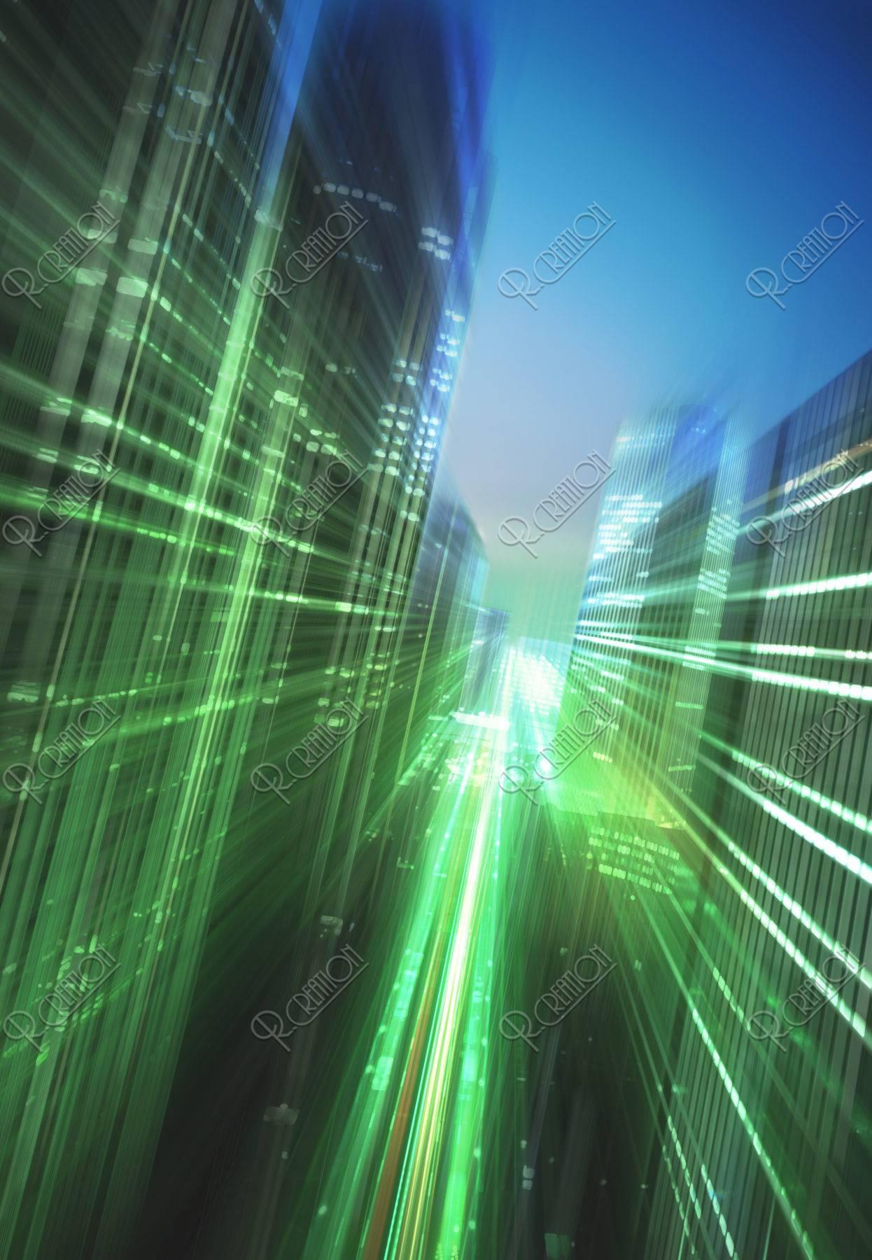 都市の光とスピードのイメージ CG